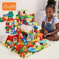TumamaKids 儿童积木积木桌 225颗粒礼盒装+51颗粒滑道+1块大底板