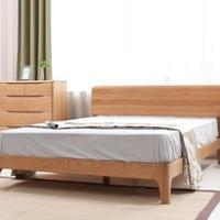 10点开始:VISAWOOD 维莎原木 w0430-1 白橡木双人床