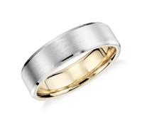 Blue Nile 铂金与18K黄金哑光斜边结婚戒指 6mm