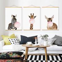 北歐可愛動物客廳裝飾畫