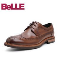 Belle/百麗婚鞋2019春季新牛皮革男布洛克皮鞋商務正裝德比鞋11298AM9 棕色 42