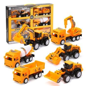 儿童超大号工程车惯性挖掘机 六只工程队(彩盒装)