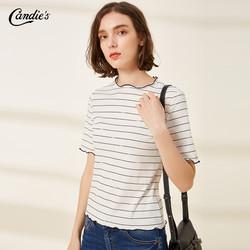 条纹白色洋气t恤女2019夏季新款半袖圆领打底衫百搭宽松内搭上衣