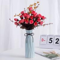 Hoatai Ceramic 陶瓷花瓶+仿真花组合(含花瓶A款蓝+2束红色玫瑰花)