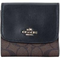 COACH 蔻驰 奢侈品 女士深咖黑色PVC配皮短款钱包钱夹 F87589 IMAA8