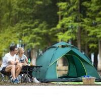 自由之舟駱駝 帳篷戶外3-4人野外露營全自動雙人防雨曬沙灘大帳篷軍綠 CM1721