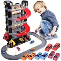GUANGWEI 兒童玩具電動升降停車場5層+軌道(配置8輛合金車)