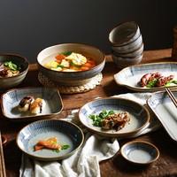 日式碗碟套裝家用4人陶瓷碗筷盤子2人碗盤一人食餐具創意單個飯碗