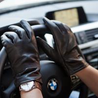 牛皮手套男士秋冬潮流時尚加絨保暖防風防滑男士騎車摩托車皮手套 Y-15006牛皮手套-男士均碼