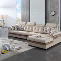 QuanU 全友 现代简约布艺家居沙发 可拆洗设计 实木框架沙发组合 102105 布皮沙发(1+3+转) 正向