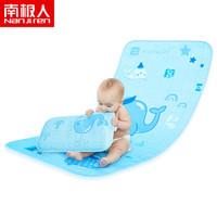 南極人(Nanjiren)嬰兒涼席 寶寶夏季冰絲涼席枕頭套裝 藍底鯨魚110*60cm 兩件套