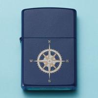 Zippo 之宝 打火机 海蓝哑漆彩印 指南针打火机
