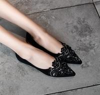 KumiKiwa 卡米 女士羊反皮尖頭平底鞋