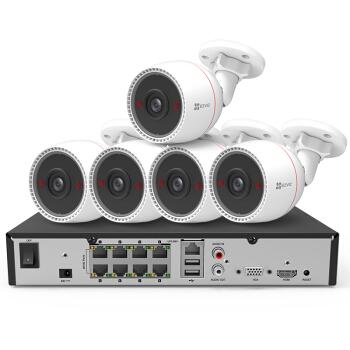 EZVIZ 萤石 POE家用商用高清摄像头系统监控设备套装X5S+C3T