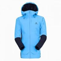 法國Salomon薩洛蒙 耐候保暖 男款連帽浪花藍加絨戶外運動防水夾克QST GUARD
