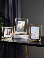 北歐金屬相框擺臺4寸6寸7寸創意植物標本畫框簡約玻璃照片框