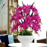 蝴蝶蘭仿真花套裝擺件假花絹花塑料花家居客廳茶幾電視柜裝飾擺設