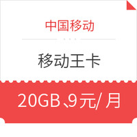 China Mobile 中国移动 电话卡 (20GB 、9元/月、1年套餐)