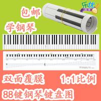 88鍵便攜式鋼琴鍵盤圖對照圖鋼琴紙鍵盤比例1:1練指法學五線譜表