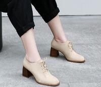 kumikiwa 卡米 系带粗高跟鞋