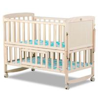鈺貝樂多功能嬰兒床實木無漆兒童拼接寶寶幼兒搖床帶蚊帳0-3歲 裸床 608
