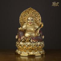 銅師傅 全銅擺件《彌勒佛(彩繪)》家居飾品 銅工藝品 佛像擺件