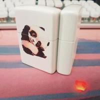 正版ZIPPO打火機 新款白啞漆彩印可愛大熊貓28860 專柜正品刻字男 男士送禮