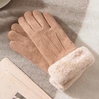 手套冬天女加絨保暖觸屏麂皮絨手套學生可愛毛絨騎車開車防寒加厚