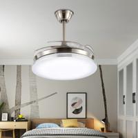 飛穩 隱形風扇燈吊扇燈 LED時尚簡約餐廳吊燈客廳扇吊燈具臥室燈 42寸C銀邊 遙控款-直徑107cm *4件