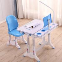 緣諾億 跨境出口兒童學習桌書桌可升降小孩桌子多功能寫字桌椅組合套裝(T7藍桌椅閱讀架+護眼燈)