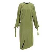 設計師品牌 LUCIEN WANG 芥綠印花分割設計真絲連衣裙 芥綠色 S
