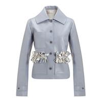 設計師品牌 XU ZHI 編繩口袋短款皮革夾克 冰藍色 10