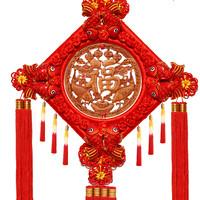 中國結掛件客廳大號桃木福字掛件小新居喬遷玄關壁掛裝飾中國風禮
