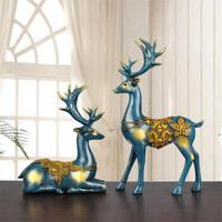 居苒陳設歐式工藝品擺件北歐風客餐廳電視柜酒柜玄關創意家居裝飾品辦公室招財風水鹿擺件情侶麋鹿