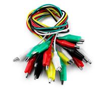 彩色鱷魚夾帶線測試線導線電源線5色雙頭長50cm大號中號小號10條