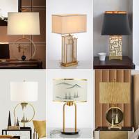 蘭亭集勢現代新中式臺燈輕奢創意山水小鳥樣板房客廳臥室床頭燈具