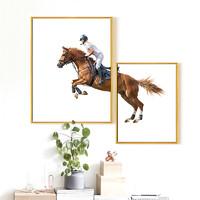 現代簡約掛畫馬畫組合裝飾畫客廳辦公室背景墻畫創意時尚藝術壁畫