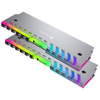 喬思伯(JONSBO)NC-2 彩色版 內存發光馬甲 (2條裝/七彩混色流光/全鋁外殼/內附導熱硅脂片/兼容高低內存) *3件