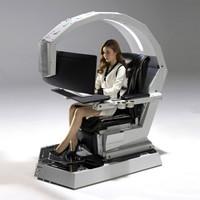 電競游戲座艙 臺式電腦桌椅一體電腦可變形定制 黑色標配