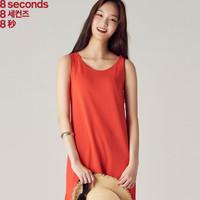 8seconds|8秒女式韓版2018夏季新款純色背心連衣裙168471SY3