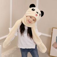 韓版熊耳朵兒童寶寶帽子圍巾手套三件一體套裝秋冬季保暖加厚圍脖