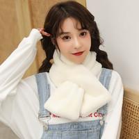 韓版可愛毛絨純色圍脖圍巾