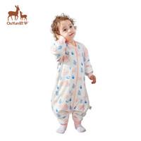 歐孕(OUYUN)嬰兒睡袋兒童恒溫睡袋新生兒抱被寶寶防踢被秋冬款  天鵝粉L碼
