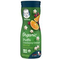 嘉寶(Gerber)有機蔓越莓甜橙星星泡芙3段 42g/罐裝 8個月以上 寶寶零食
