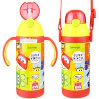超級飛俠 嬰兒童保溫杯  寶寶吸管杯 男女學生保溫學飲水杯 便攜保溫壺380ML 黃色 *2件