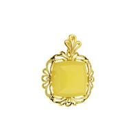 S&A 賽吉琥珀 玫瑰金鏤空方形黃色琥珀銀吊墜配鏈 P2932