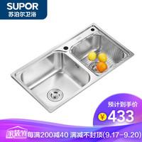 蘇泊爾(SUPOR)水槽大雙槽套餐304不銹鋼大R角:78*43cm(裸槽)