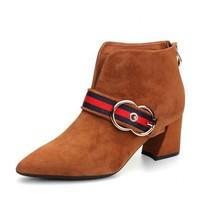 森達靴子新款專柜同款英倫女短靴尖頭粗高跟靴子