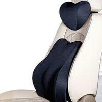 12日8點:南極人 汽車頭枕 腰靠套裝 太空記憶棉行車靠枕 車用辦公室座椅靠墊 升級版3D套裝 黑色
