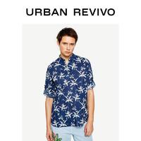 UR夏季新品男裝合身印花高領短袖棉麻開襟襯衫ML22R2BE2002